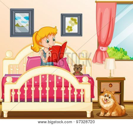 Girl reading story book in her bed