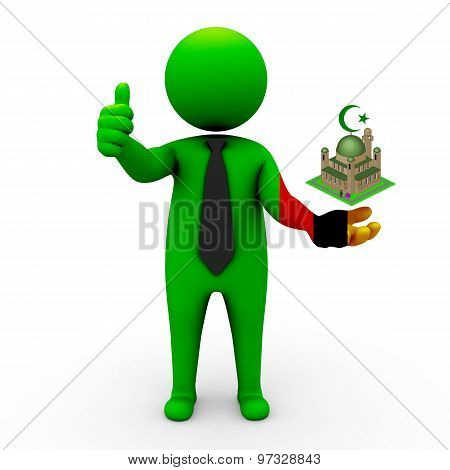 3d businessman people Zambia- Muslim mosque and Islam in Zambia
