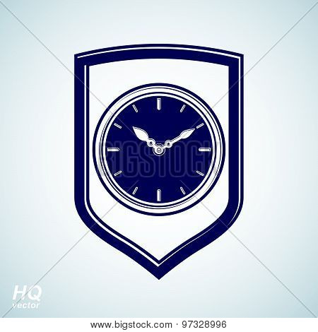 Vector wall clock with an hour hand on dial. Protection shield and high quality timer illustration