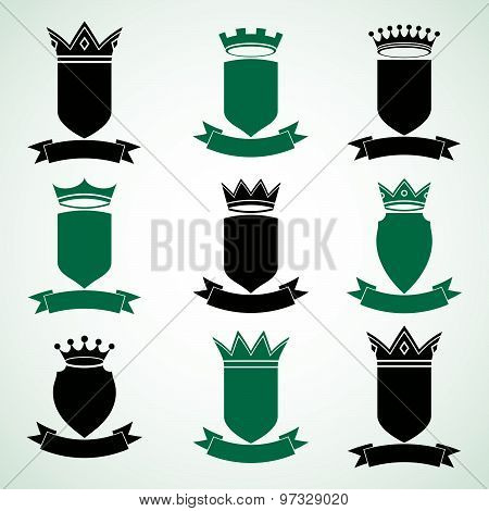Heraldic royal blazon illustrations set, imperial striped decorative coat of arms. Collection