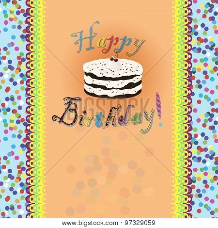 Birthday card with birthday cake and text