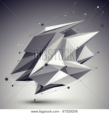 Asymmetric 3D abstract object with lines and dots over dark background.