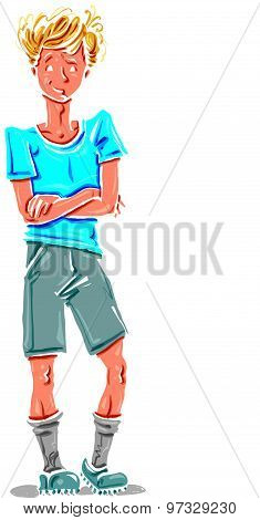 Vector full-length drawing of Caucasian fair-haired teenager, bright cartoon hand-drawn boy