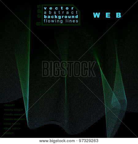 Delicate three-dimensional flowing stripy lines, dreamy vector abstract background, web design
