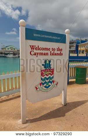 Welcome Board In George Town Of Grand Cayman Island