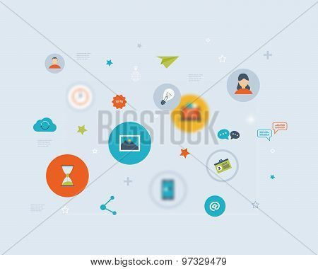 Flat vector design with social network and online communication icons