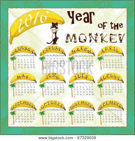 Monkey calendar. Calendar for 2016 with a symbol of the Chinese horoscope - a monkey. Month names are composed of monkey alphabet letters
