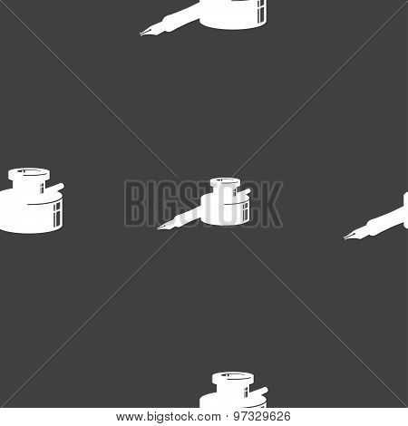 Pen And Ink Icon Sign. Seamless Pattern On A Gray Background. Vector