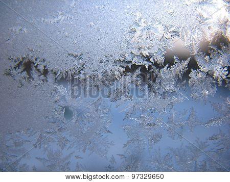 Frosty Pattern On Winter Window