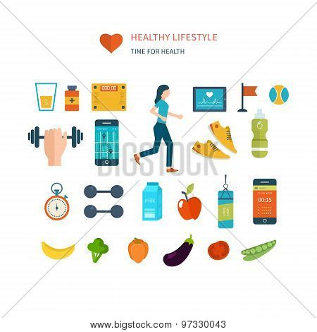 Modern flat vector icons of healthy lifestyle, fitness and physical activity. Diet, exercising in th
