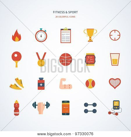 Flat design modern vector illustration concept for sport, fitness and healthy lifestyle