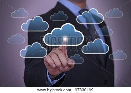 Cloud Computing Concept Touching on Visual Screen
