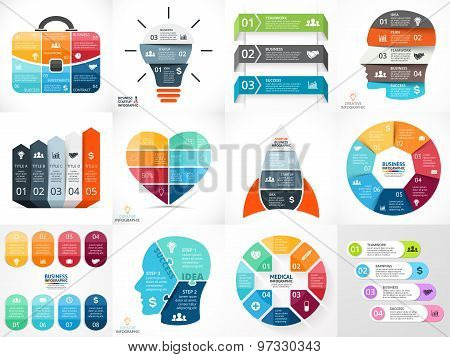 Creative vector arrows teamwork infographics, diagrams, graphs, charts. 3, 4, 5, 6, 7, 8 options, pa