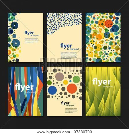 Set of Creative Card, Flyer or Cover Designs with Dotted and Abstract Colorful Pattern Backgrounds