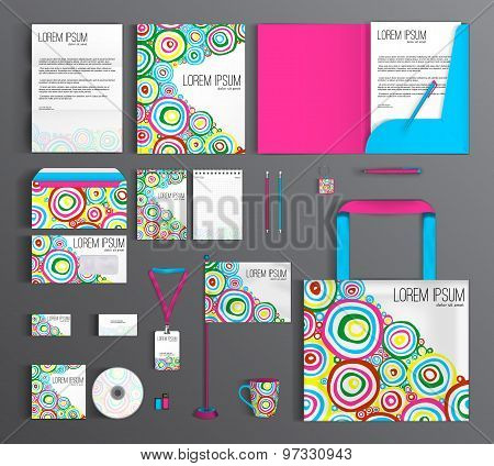 Corporate Identity Set With Abstract Pattern With Round Brush Strokes.