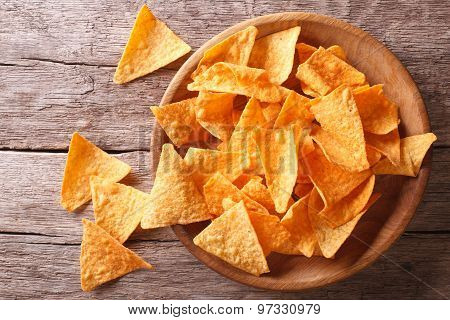 Nachos Corn Chips In The Bowl. Horizontal Top View