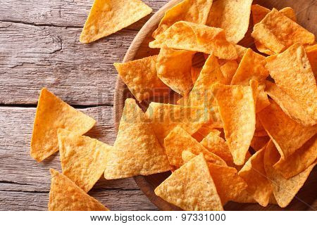 Nachos Corn Chips In The Bowl Close-up. Horizontal Top View