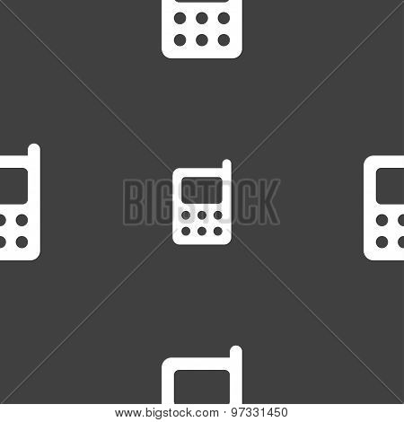 Mobile Phone Icon Sign. Seamless Pattern On A Gray Background. Vector