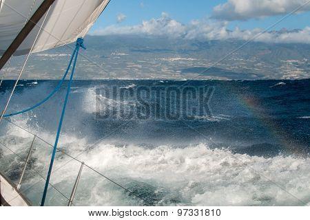 Yacht in a stormy ocean