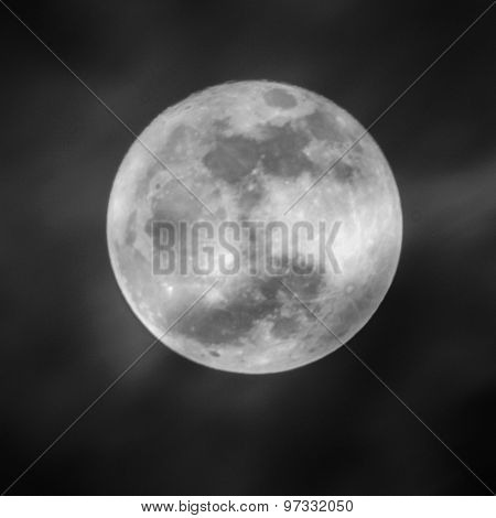 Full Moon On The Black Background. Close-up