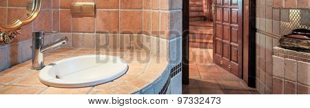 Washbowl In Beige Toilet