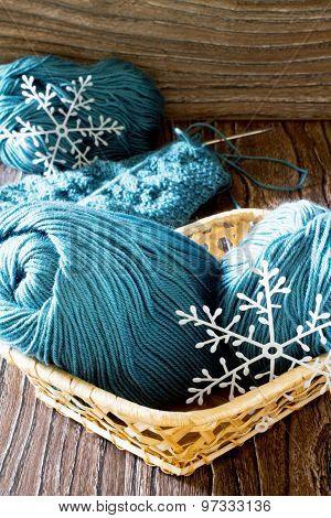 Wool Yarn And Needles. Needlework Accessories.