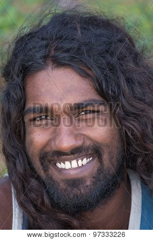 Portrait Of Young Local Man Smiling For Camera.mirissa, Sri Lanka