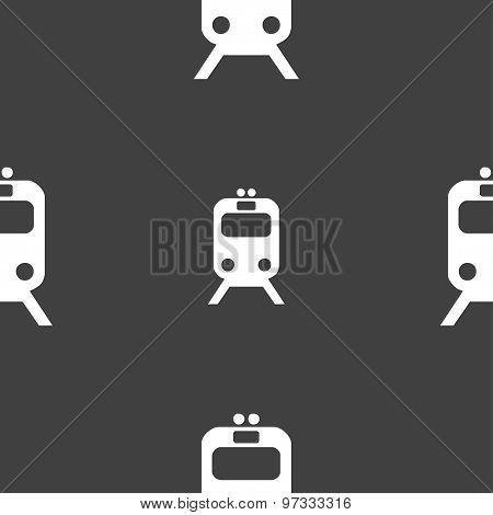 Train Icon Sign. Seamless Pattern On A Gray Background. Vector