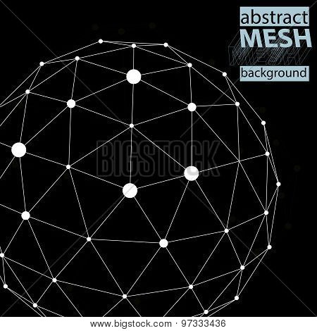 Spatial technological shape, polygonal black and white eps8 wireframe background