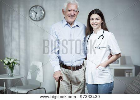 Female Doctor And Elder Man