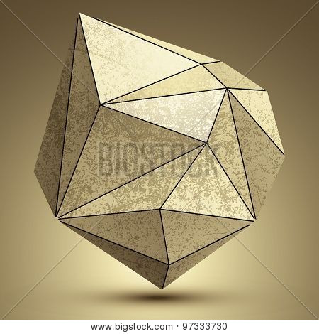 Distorted grunge copper 3d polygonal technology object, abstract spatial design model.