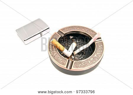 Butts In Ashtray And Lighter