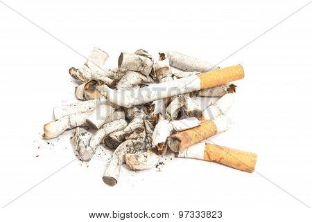 Many Cigarette Butts On White