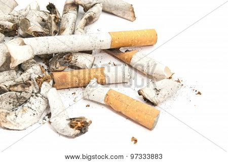 Heap Of Different Cigarette Butts