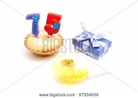 Cupcake With Seventy Five Years Birthday Candle, Gift And Whistle
