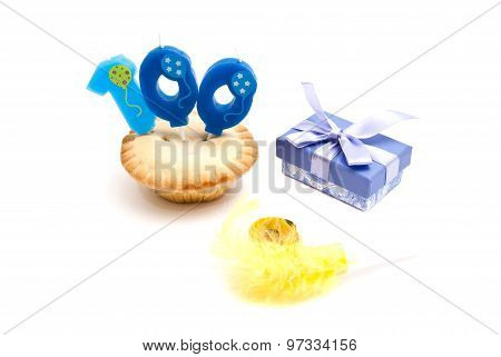 Cupcake With One Hundred Years Birthday Candle, Gift And Whistle