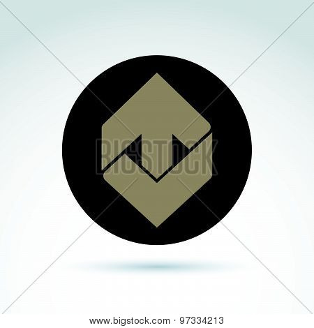 Vector abstract emblem with up arrow, direction sign. Checkmark symbol.