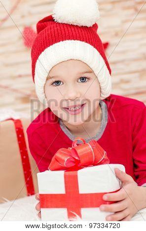 Smiling Funny Child In Santa