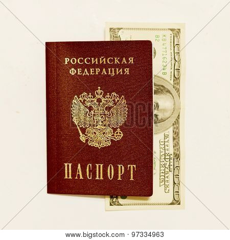 Russian Passport And Cash On Whine Close Up