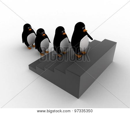 3D Penguins Go Up Stairs In Queue Concept