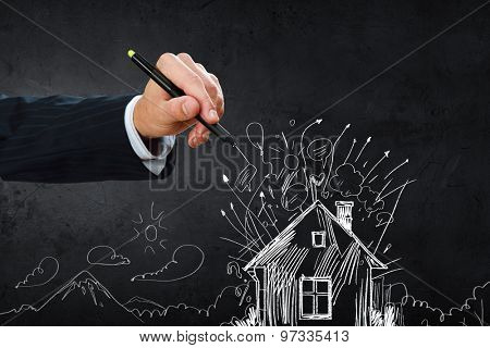 Hand drawing abstract house on a black background