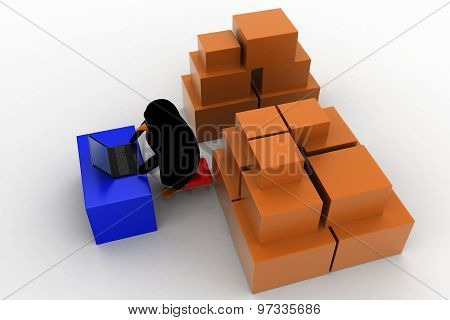 3D Penguin Working In Storage With Boxes And Laptop Concept