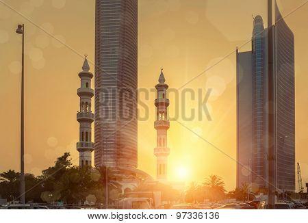 Sunset view on Abu Dhabi dountown
