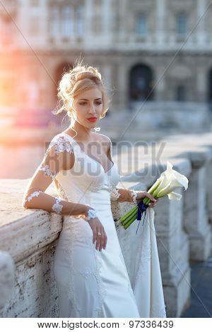Beautiful Bride On Bridge