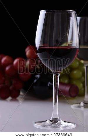 Wine Glass Bottle And Grapes