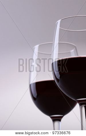 Closeup Of Two Glasses With Red Wine