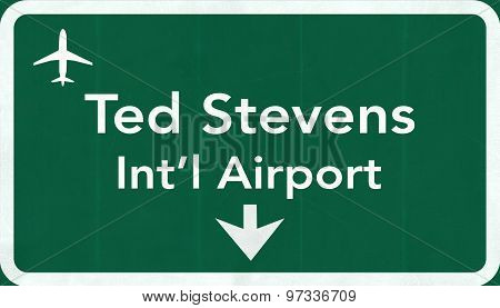 Anchorage Usa International Airport Highway Road Sign