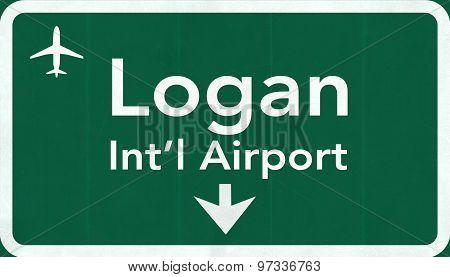 Boston Logan Usa International Airport Highway Road Sign