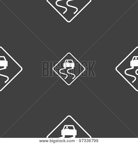 Road Slippery Icon Sign. Seamless Pattern On A Gray Background. Vector