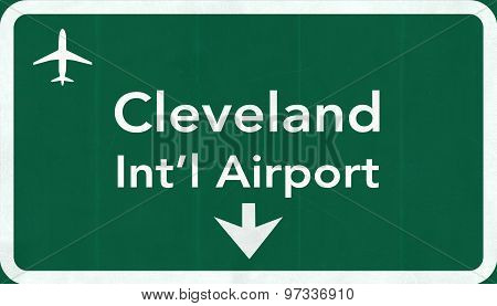 Cleveland Hopkins Usa International Airport Highway Road Sign